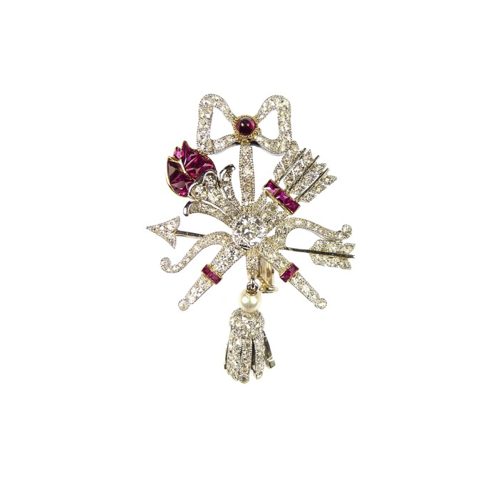 Early 20th century ruby and diamond trophy-of-love brooch | MasterArt